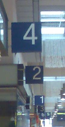 Gleisnummerierung in Potsdam - 4, 2, 1, 3, 6